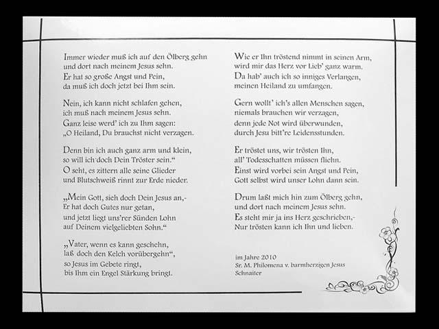 Textschild-Gedicht