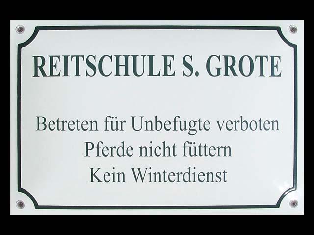 Textschild-Reitschule