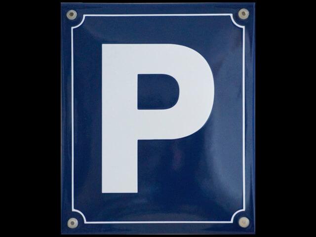 Emaille Parkplatzschild mit Zeichen P