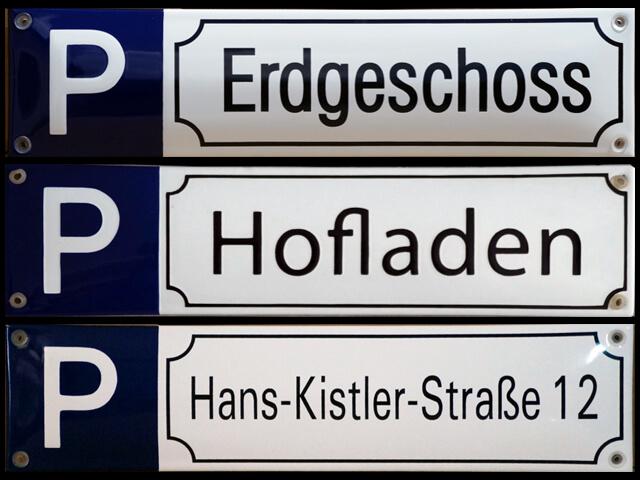 Parkplatzschilder in Emaille