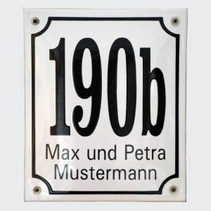 Emaille-Hausnummer-Kombischild-16x19cm.