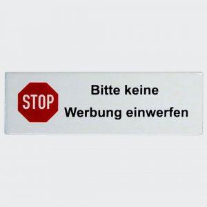 Keine-Werbung-flach-110x35mm in Emaille
