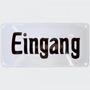 Nostalgie-Emailleschild-Eingang-20x10cm-gewoelbt