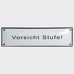 Vorsicht-Stufe-185x50mm-in-Emaille