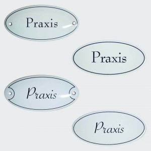 Emaille-Tuerschild-Praxis-10x5cm