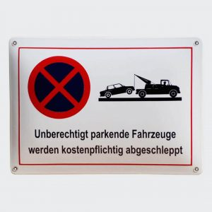 Emailleschild-Unberechtigt-Parken-35x25cm
