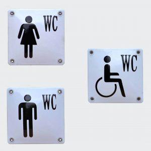 Toilettenschild-Emaille-Piktogramm-WC-Weiß-Schwarz-10x10cm