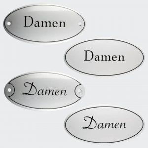 Tuerschild-Emaille-Damen-oval-10x5cm