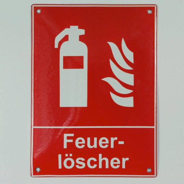 Emailleschild-Feuerloescher