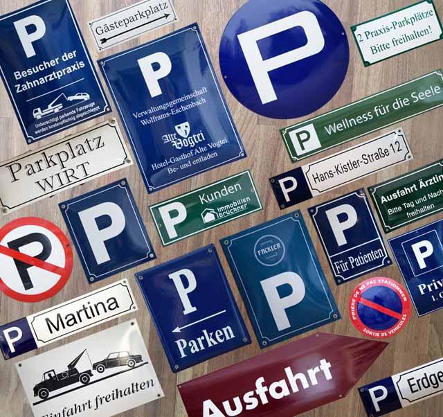 Emaille Parkplatzbeschilderungen